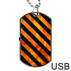 Stripes3 Black Marble & Fire (r) Dog Tag Usb Flash (one Side) by trendistuff