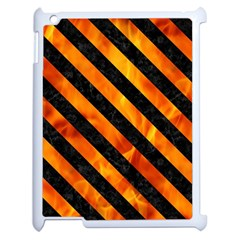 Stripes3 Black Marble & Fire (r) Apple Ipad 2 Case (white) by trendistuff