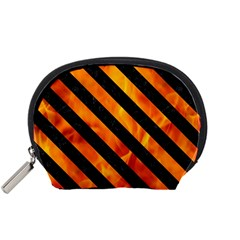 Stripes3 Black Marble & Fire (r) Accessory Pouches (small)  by trendistuff