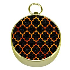 Tile1 Black Marble & Fire Gold Compasses by trendistuff