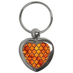 Tile1 Black Marble & Fire (r) Key Chains (heart)  by trendistuff
