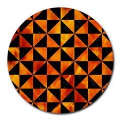 Triangle1 Black Marble & Fire Round Mousepads by trendistuff