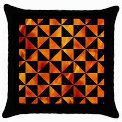 Triangle1 Black Marble & Fire Throw Pillow Case (black) by trendistuff