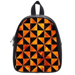 Triangle1 Black Marble & Fire School Bag (small) by trendistuff