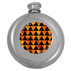Triangle2 Black Marble & Fire Round Hip Flask (5 Oz) by trendistuff