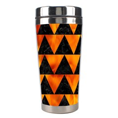 Triangle2 Black Marble & Fire Stainless Steel Travel Tumblers by trendistuff
