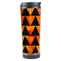 Triangle2 Black Marble & Fire Travel Tumbler by trendistuff