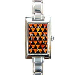 Triangle3 Black Marble & Fire Rectangle Italian Charm Watch by trendistuff
