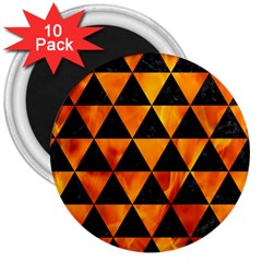 Triangle3 Black Marble & Fire 3  Magnets (10 Pack)  by trendistuff