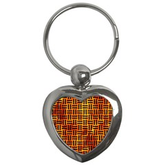 Woven1 Black Marble & Fire (r) Key Chains (heart)  by trendistuff