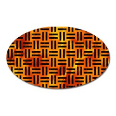 Woven1 Black Marble & Fire (r) Oval Magnet by trendistuff