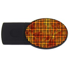 Woven1 Black Marble & Fire (r) Usb Flash Drive Oval (4 Gb) by trendistuff