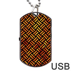Woven2 Black Marble & Fire Dog Tag Usb Flash (one Side) by trendistuff