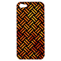 Woven2 Black Marble & Fire Apple Iphone 5 Hardshell Case by trendistuff