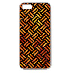 Woven2 Black Marble & Fire Apple Seamless Iphone 5 Case (clear) by trendistuff