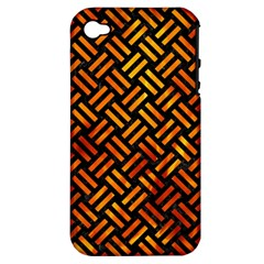 Woven2 Black Marble & Fire Apple Iphone 4/4s Hardshell Case (pc+silicone) by trendistuff