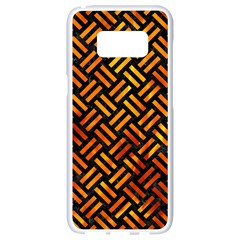 Woven2 Black Marble & Fire Samsung Galaxy S8 White Seamless Case by trendistuff