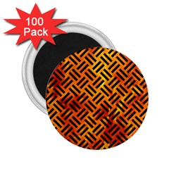Woven2 Black Marble & Fire (r) 2 25  Magnets (100 Pack)  by trendistuff