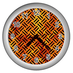 Woven2 Black Marble & Fire (r) Wall Clocks (silver)  by trendistuff