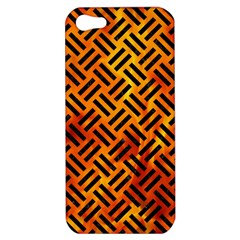 Woven2 Black Marble & Fire (r) Apple Iphone 5 Hardshell Case by trendistuff