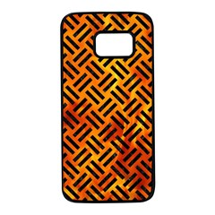 Woven2 Black Marble & Fire (r) Samsung Galaxy S7 Black Seamless Case by trendistuff
