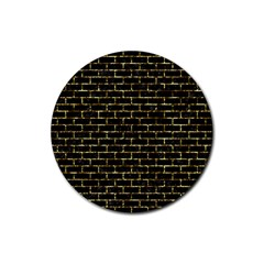 Brick1 Black Marble & Gold Foil Rubber Coaster (round)  by trendistuff