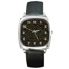 Brick1 Black Marble & Gold Foil Square Metal Watch by trendistuff