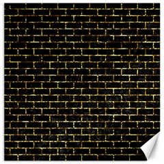 Brick1 Black Marble & Gold Foil Canvas 16  X 16   by trendistuff