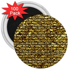 Brick1 Black Marble & Gold Foil (r) 3  Magnets (100 Pack) by trendistuff