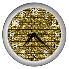Brick1 Black Marble & Gold Foil (r) Wall Clocks (silver)  by trendistuff