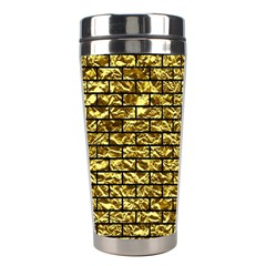 Brick1 Black Marble & Gold Foil (r) Stainless Steel Travel Tumblers by trendistuff
