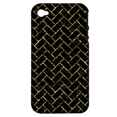 Brick2 Black Marble & Gold Foil Apple Iphone 4/4s Hardshell Case (pc+silicone) by trendistuff