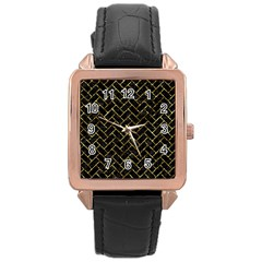 Brick2 Black Marble & Gold Foil Rose Gold Leather Watch  by trendistuff