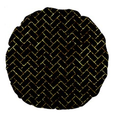 Brick2 Black Marble & Gold Foil Large 18  Premium Flano Round Cushions by trendistuff