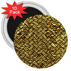 Brick2 Black Marble & Gold Foil (r) 3  Magnets (10 Pack)  by trendistuff