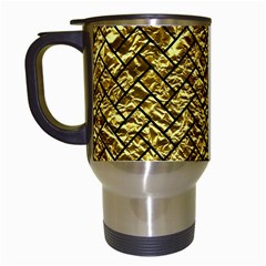 Brick2 Black Marble & Gold Foil (r) Travel Mugs (white) by trendistuff