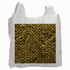 Brick2 Black Marble & Gold Foil (r) Recycle Bag (one Side) by trendistuff