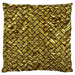 Brick2 Black Marble & Gold Foil (r) Large Cushion Case (two Sides) by trendistuff