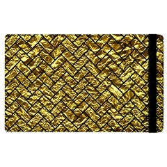 Brick2 Black Marble & Gold Foil (r) Apple Ipad 2 Flip Case by trendistuff