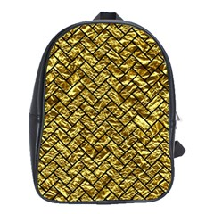 Brick2 Black Marble & Gold Foil (r) School Bag (xl) by trendistuff