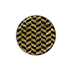 Chevron1 Black Marble & Gold Foil Hat Clip Ball Marker (4 Pack) by trendistuff