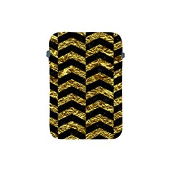 Chevron2 Black Marble & Gold Foil Apple Ipad Mini Protective Soft Cases by trendistuff