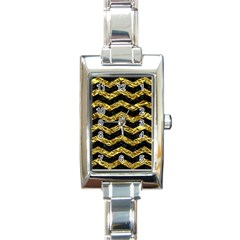 Chevron3 Black Marble & Gold Foil Rectangle Italian Charm Watch by trendistuff
