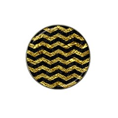 Chevron3 Black Marble & Gold Foil Hat Clip Ball Marker (4 Pack) by trendistuff