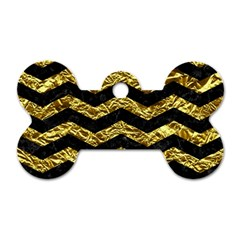 Chevron3 Black Marble & Gold Foil Dog Tag Bone (two Sides) by trendistuff