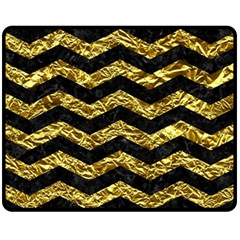 Chevron3 Black Marble & Gold Foil Fleece Blanket (medium)  by trendistuff