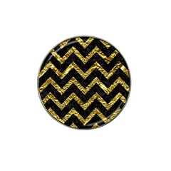 Chevron9 Black Marble & Gold Foil Hat Clip Ball Marker (4 Pack) by trendistuff