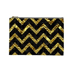 Chevron9 Black Marble & Gold Foil Cosmetic Bag (large)  by trendistuff