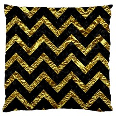 Chevron9 Black Marble & Gold Foil Large Flano Cushion Case (one Side) by trendistuff