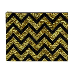 Chevron9 Black Marble & Gold Foil (r) Cosmetic Bag (xl) by trendistuff